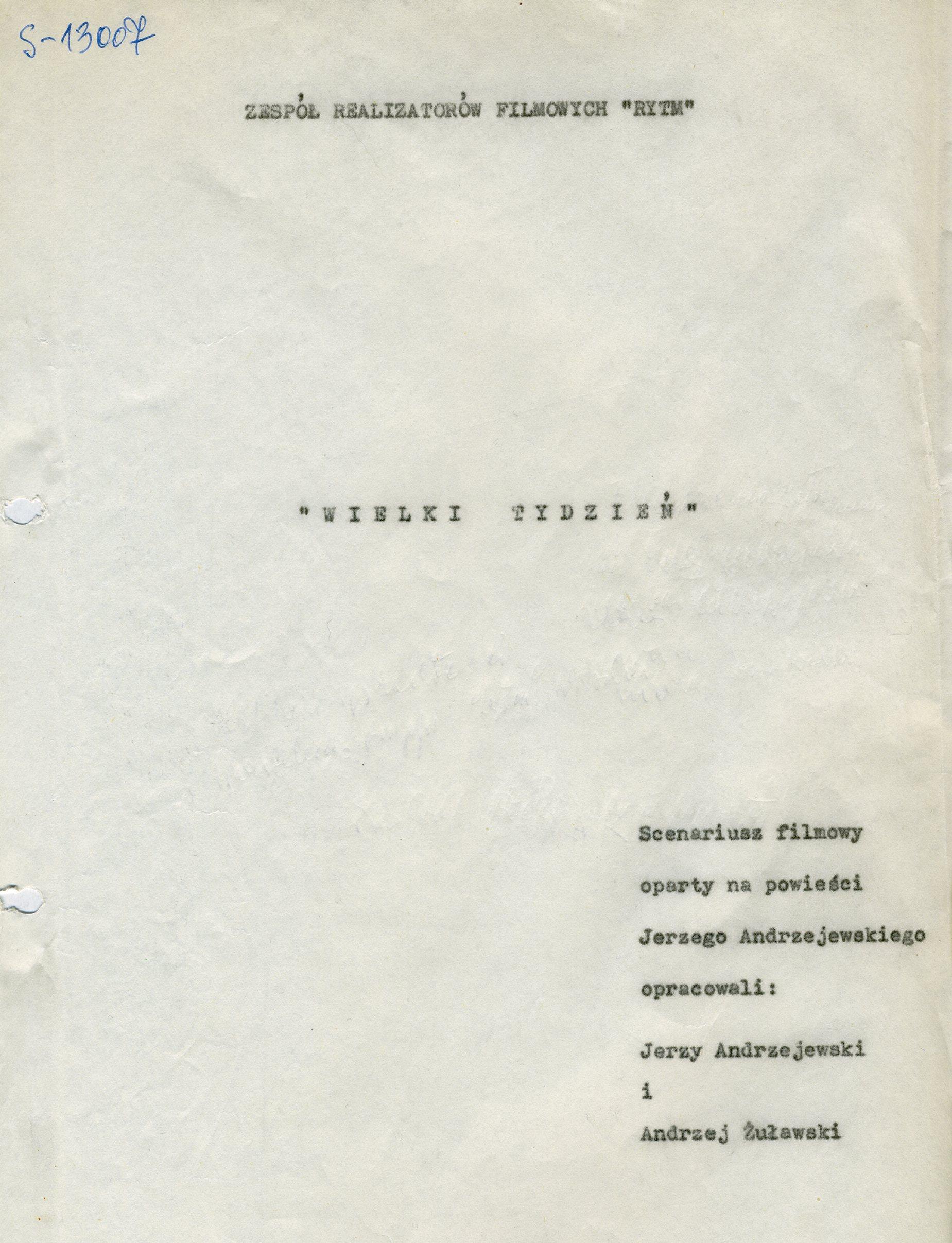 fragment maszynopisu scenariusza filmu Andrzeja Wajdy