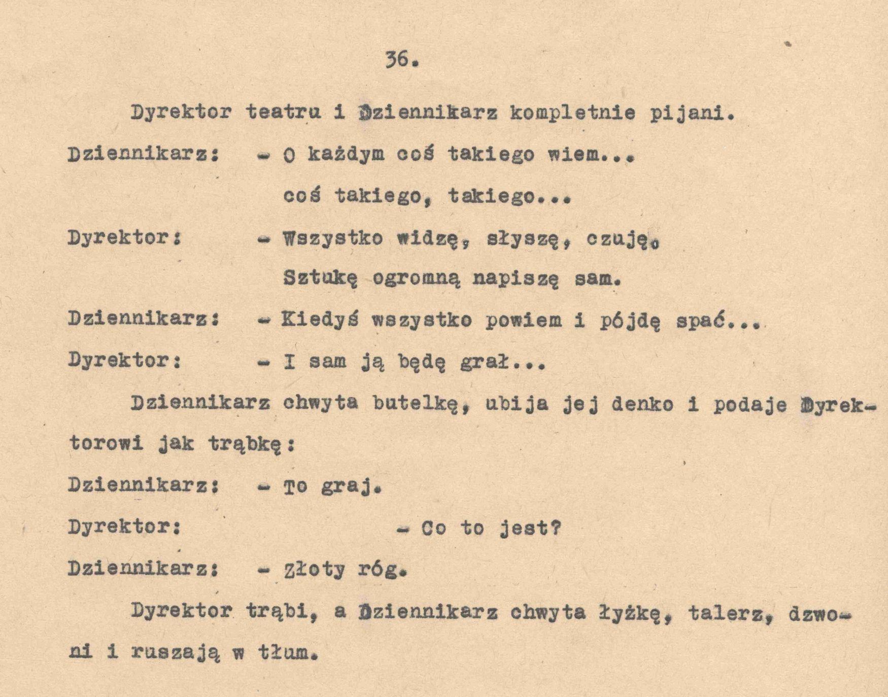 fragment maszynopisu scenariusza Wesele 1963 Andrzeja Wajdy