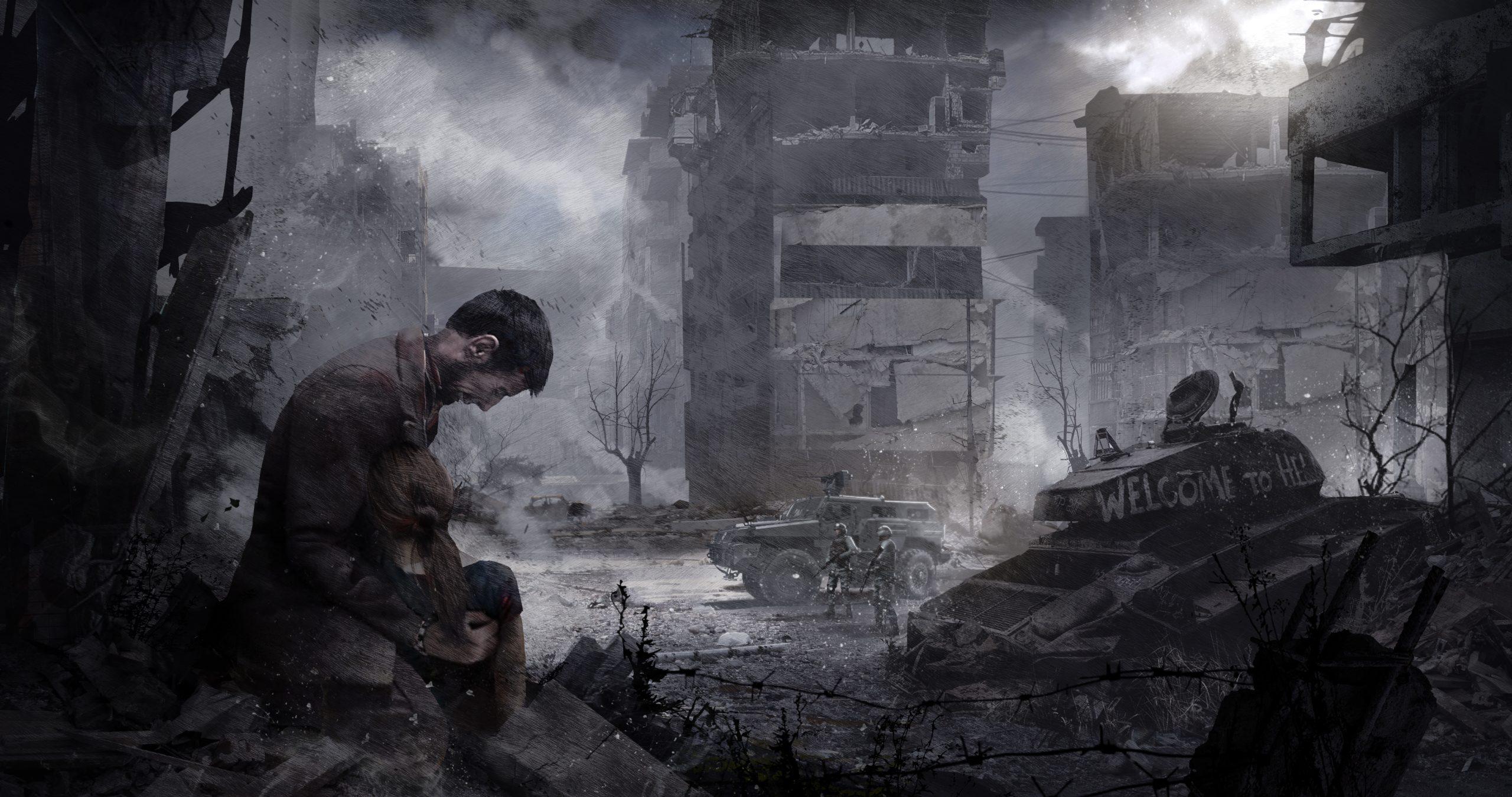 postać męska na tle ruin miasta